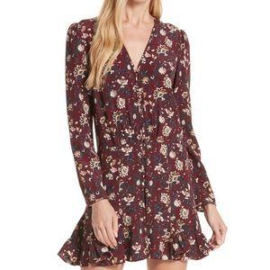 Veronica Beard Riggins Silk Floral Maroon Dress 4